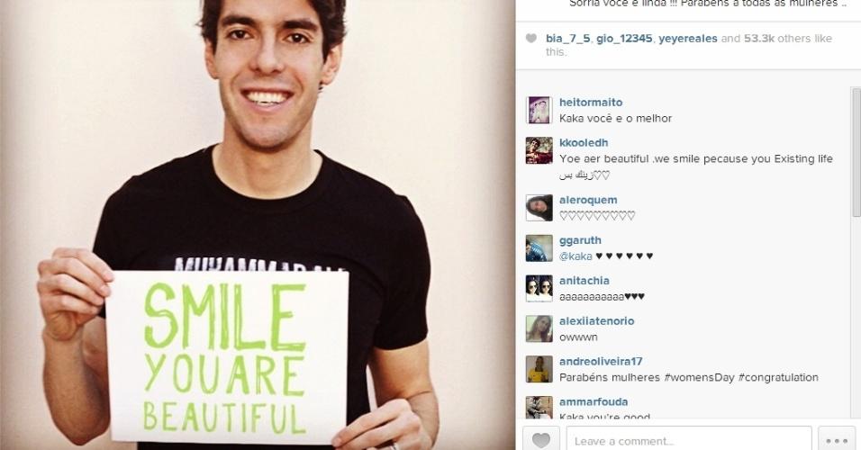 Kaká faz homenagem ao Dia da Mulher em seu Instagram