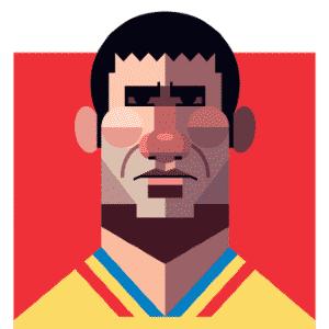 11.03.2014 - Caricatura de Gheorghe Hagi, craque romeno nas Copas de 1990, 1994 e 1998, por Daniel Nyari - Daniel Nyari