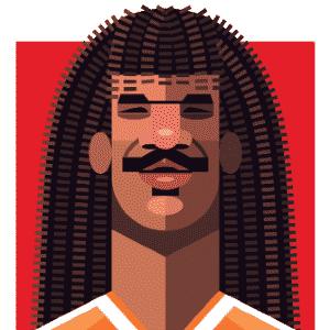 11.03.2014 - Caricatura de Ruud Gullit, craque holandês na Copa de 1990, por Daniel Nyari - Daniel Nyari