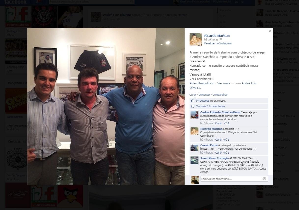 Andrés Sanchez, ex-presidente do Corinthians, posa ao lado de Ricardo Maritan, André Luiz de Oliveira e Manoel Evangelista