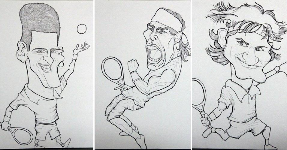 Roxane não é fã de produzir caricaturas, mas já se arriscou desenhando o top 3 do tênis nos últimos anos: Federer, Nadal e Djokovic. Nesta imagem, o começo do trabalho