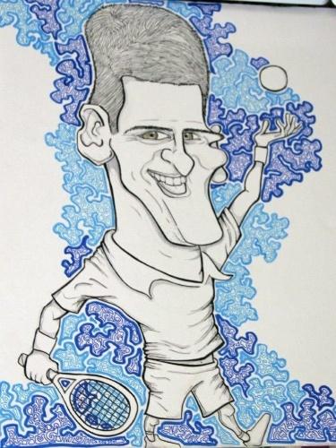 Roxane Vaisemberg desenhou uma caricatura de Novak Djokovic, apesar de não gostar do estilo: 'caricaturas são arriscadas'