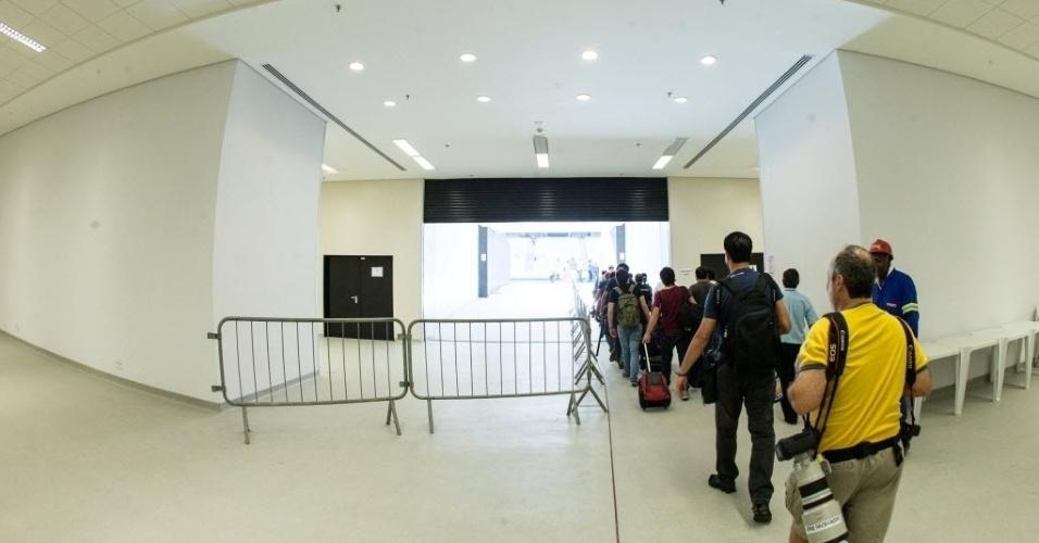 Entrada dos jornalistas no estádio Itaquerão