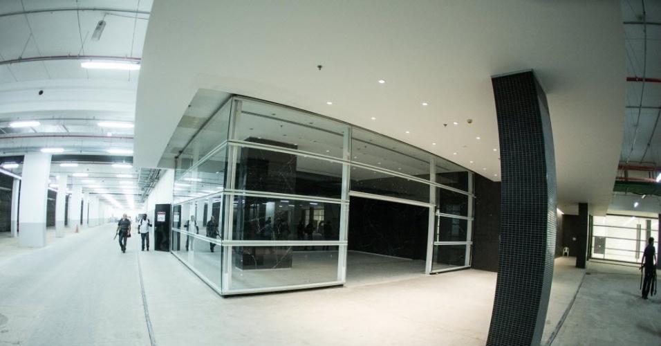 Salão no interior da obra do estádio Itaquerão, que será sede da abertura da Copa