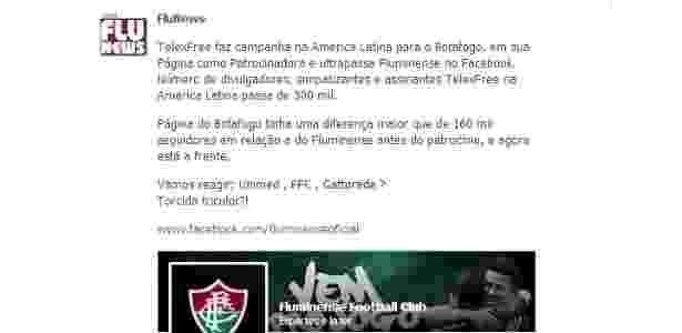 Botafogo e Flu duelam na internet e sobra até para patrocinador polêmico.  Reprodução Facebook. Botafogo passou Fluminense em página oficial ... db1021d8ef149