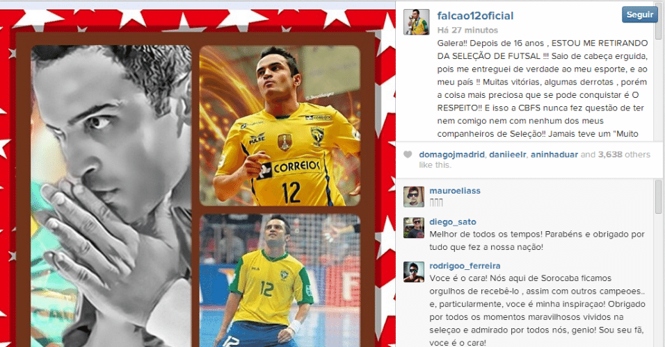 20.03.14 - Falcão detona confederação e anuncia que está fora da seleção brasileira de futsal