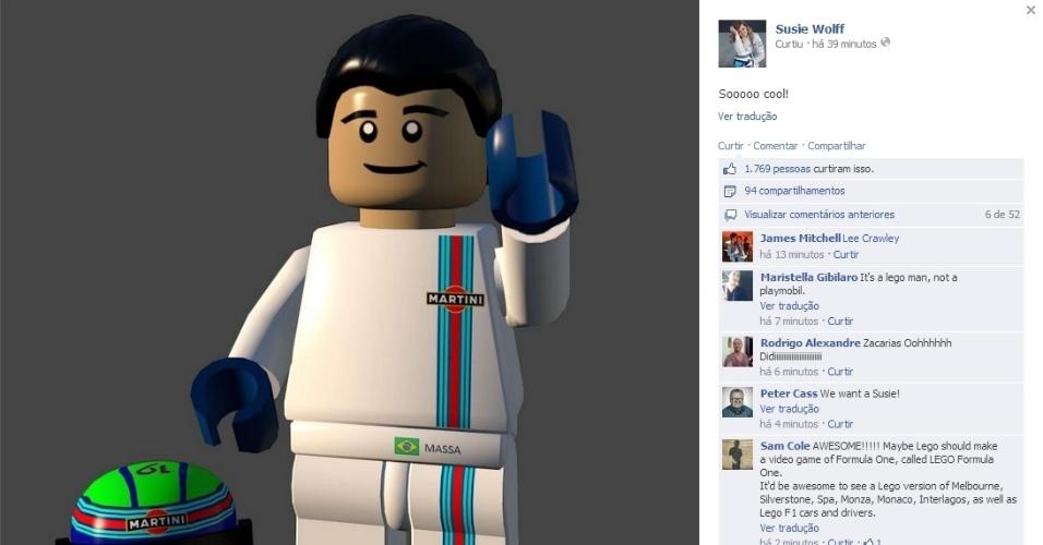 Companheira da Williams posta versão de Felipe Massa em Lego