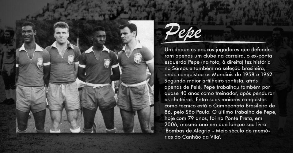 Ex-ponta esquerda Pepe (na foto, à direita) fez história no Santos e também na seleção , onde conquistou os Mundiais de 1958 e 1962. Segundo maior artilheiro santista, atrás apenas de Pelé, Pepe trabalhou também por quase 40 anos como treinador, após pendurar as chuteiras. Entre suas maiores conquistas como técnico está o Campeonato Brasileiro de 86, pelo São Paulo. O último trabalho de Pepe foi na Ponte Preta, em 2006