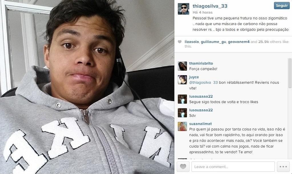 Thiago Silva posta foto após fraturar osso zigomático do rosto