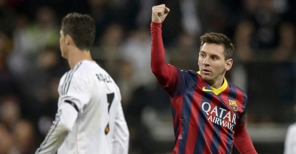23.03.2014 - Messi comemora gol de empate do Barcelona. Jogo contra o Real terminou 2 a 2 no primeiro tempo