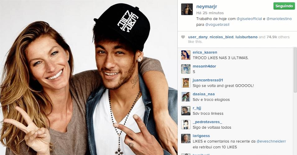 Neymar posta foto no Instagram ao lado da modelo Gisele Bündchen; ambos fizeram um trabalho para a revista Vogue, especializada em moda