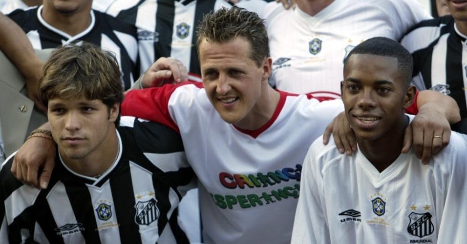 Robinho ao lado de Schumacher com Diego, em jogo beneficente de 2003