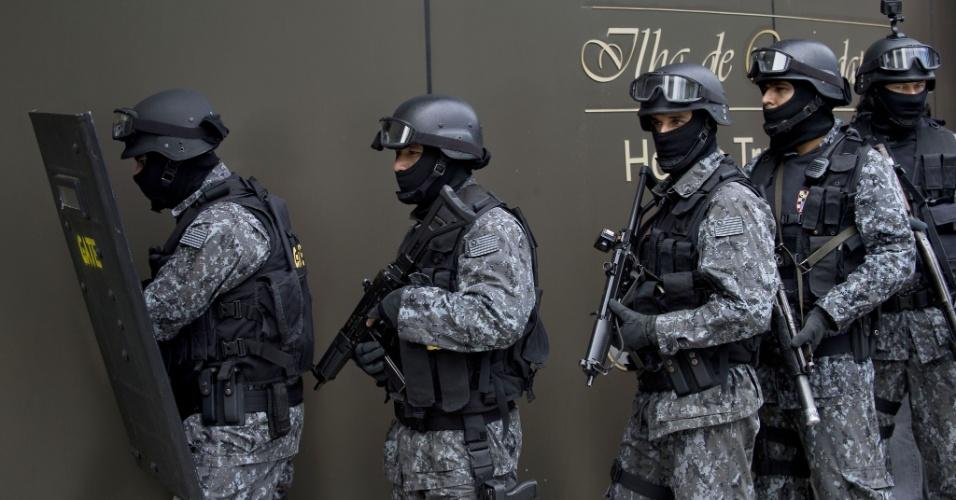 25.mar.2014 - A simulação aconteceu no Hotel Transamérica e foi acompanhada pela imprensa