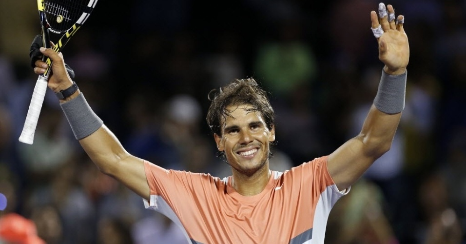 25.mar.2014 - Rafael Nadal abre o sorriso após vencer Fabio Fognini por duplo 6-2 nas oitavas de final