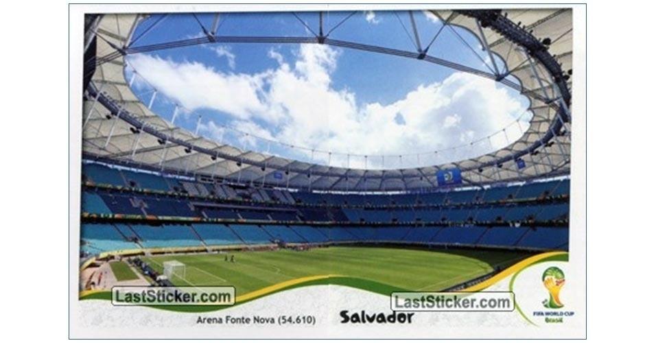 Figurinha da Arena Fonte Nova no álbum da Copa do Mundo de 2014