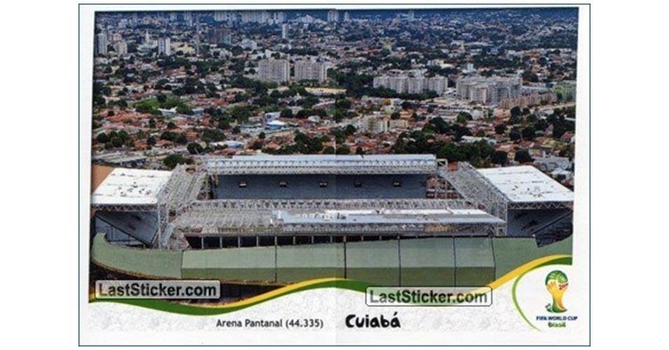 Figurinha do Arena Pantanal, de Cuiabá, no álbum da Copa do Mundo
