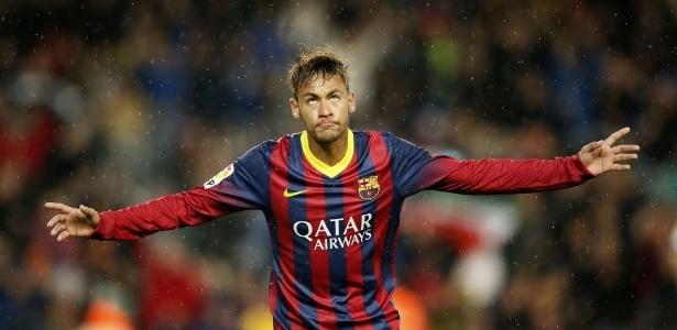 26.mar.2014 - Neymar comemora o seu segundo gol na partida entre Barcelona e celta pelo Campeonato Espanhol