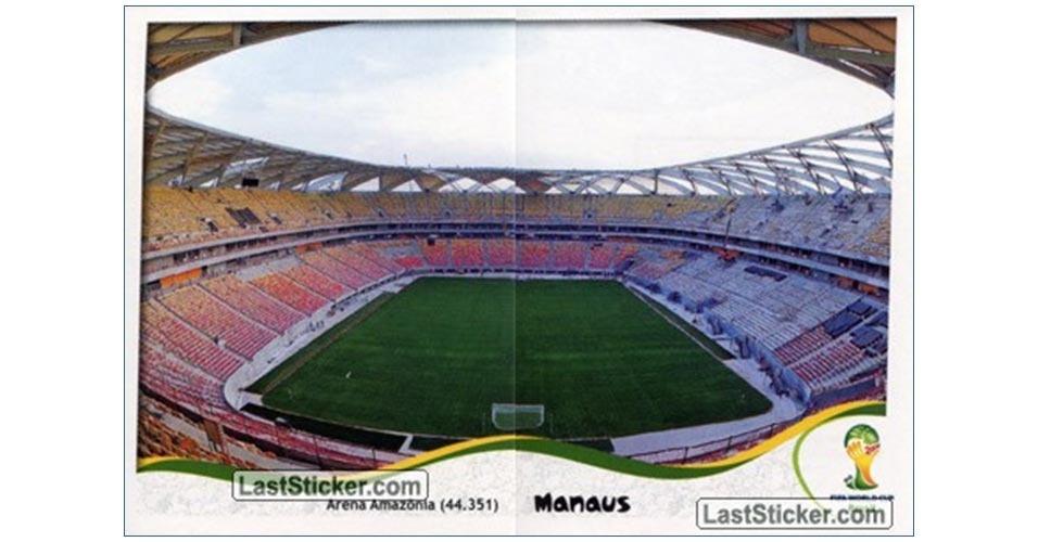 Figurinha da Arena Amazônia no álbum da Copa do Mundo