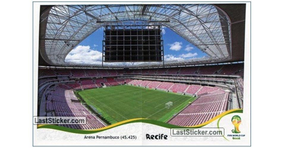 Figurinha da Arena Pernambuco no álbum da Copa do Mundo de 2014