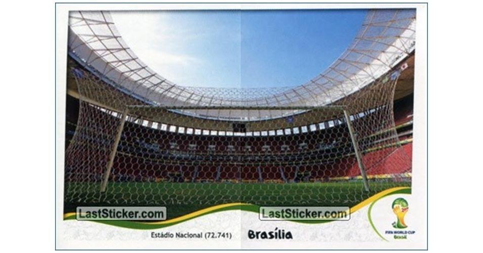 Figurinha do Estário Nacional de Brasília no álbum da Copa do Mundo