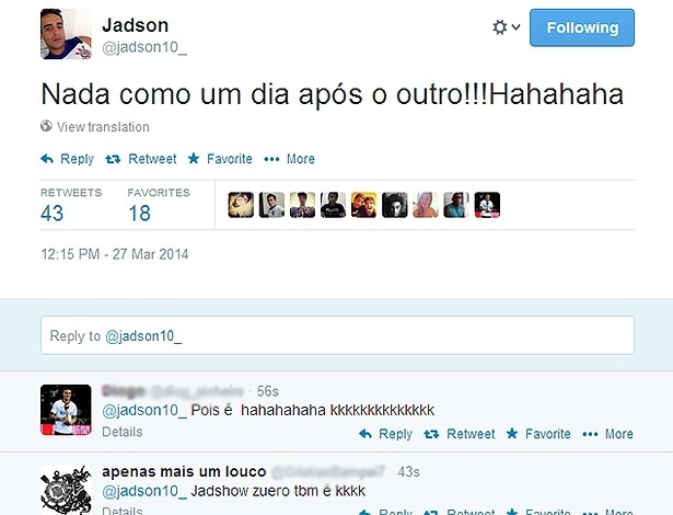 Um dia após eliminação do São Paulo no Campeonato Paulista, Jadson escreve no Twitter: