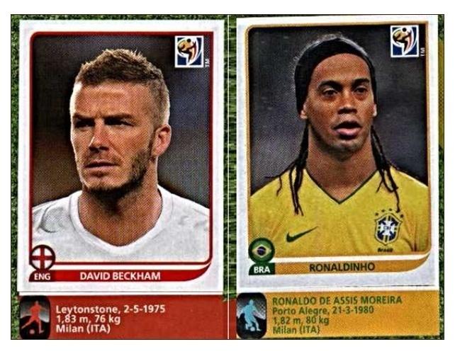 """Beckham (Inglaterra) e Ronaldinho Gaúcho (Brasil): nenhum deles foi convocado em 2010, mas entraram """"para ajudar a atrair colecionadores"""""""