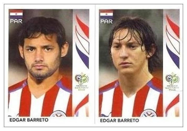 Edgar Barreto (Paraguai): No álbum de 2006, uma figurinha de Edgar Barreto trazia a foto de seu irmão, Diego. A figurinha certa foi feita, mas distribuída só para quem pediu por ela para a editora
