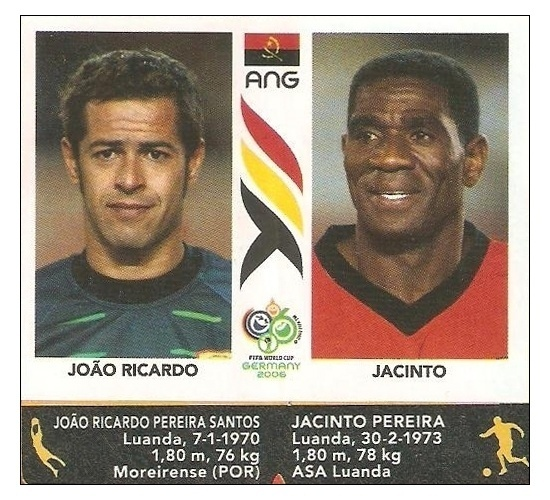 Jacinto (Angola): No álbum da Copa, ele nasceu no dia 30 de fevereiro de 1972...