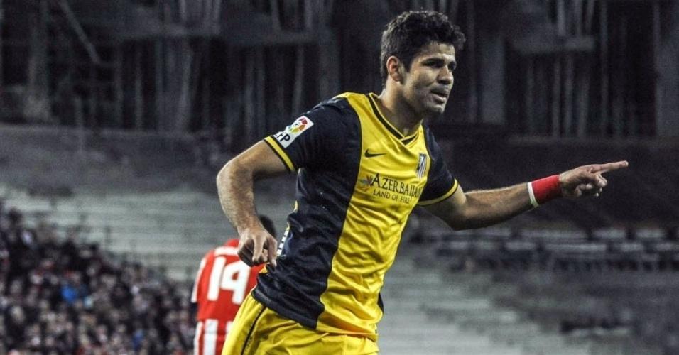 29.mar.2014 - Diego Costa comemora após marcar de pênalti para o Atlético de Madri contra o Athletic de Bilbao
