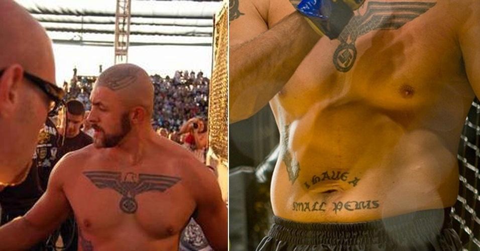 """Troféu pior tatuagem do MMA. Este cara é Melvin Costa, um norte-americano com um cartel horrível de 8 vitórias e sete derrotas. Mais horrível que o retrospecto, no entanto, são suas tatuagens. A começar pelos símbolos nazistas - ele se declara um """"nacionalista branco"""". Mas nem tudo é política. Fanfarrão, ele tatuou na barriga: """"eu tenho um pênis pequeno"""". E você achando ruim tatuar o nome de um(a) ex..."""