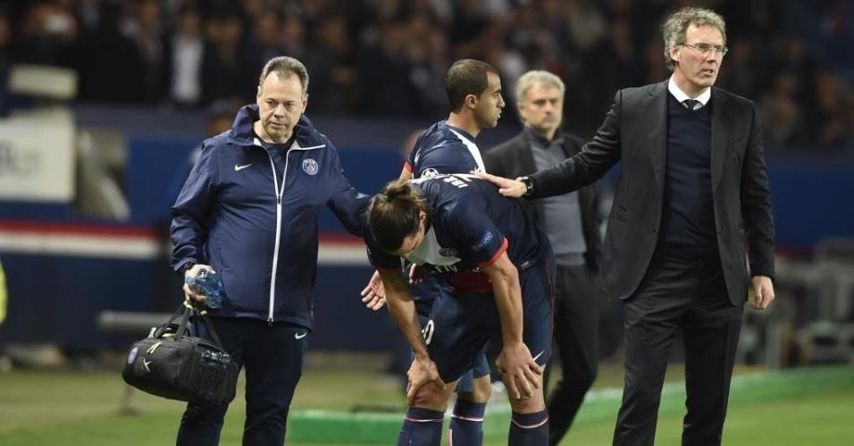 02.abr.2014 - Lucas entra no lugar de Ibrahimovic na partida entre PSG e Chelsea em Paris