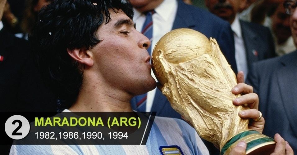 2. Maradona (Copas de 1982, 1986, 1990, 1994)