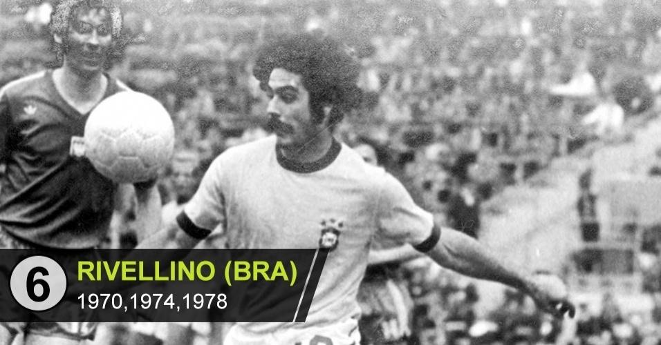 6. Rivelino (Copa de 1970,1974,1978)