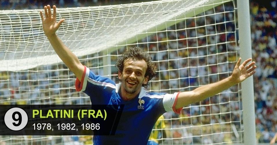9. Michel Platini (Copas de 1978, 1982, 1986)