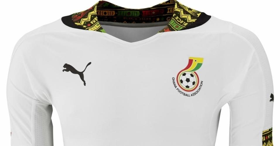 Camisa de Gana que deverá ser usada na Copa do Mundo