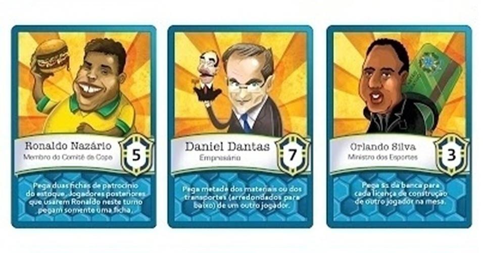 Cartas representando personagens reais que fazem parte da preparação do Brasil para a Copa do Mundo