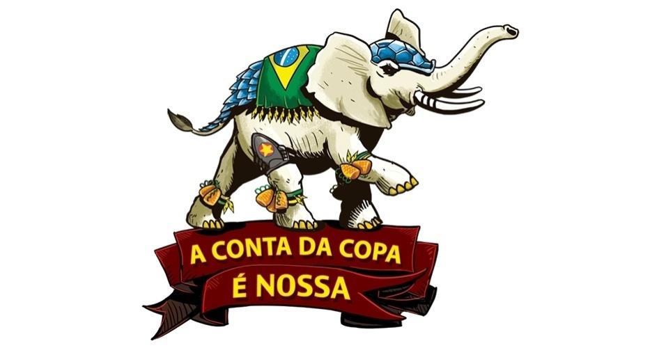 Inspirado no mascote Fuleco, o Elefanteco traz caxirolas nas patas e símbolos militares, lembrando a repressão às manifestações de 2013; representa as obras que serão grandes elefantes brancos após a Copa
