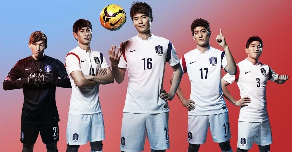 Segundo uniforme da Coreia do Sul será branco com detalhes vermelhos e azuis, cores da bandeira do país