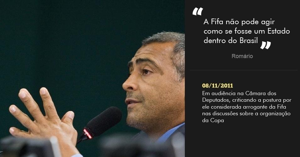 ?A Fifa não pode agir como se fosse um Estado dentro do Brasil?  08/11/2011 - Em audiência na Câmara dos Deputados, criticando a postura por ele considerada arrogante da Fifa nas discussões sobre a organização da Copa
