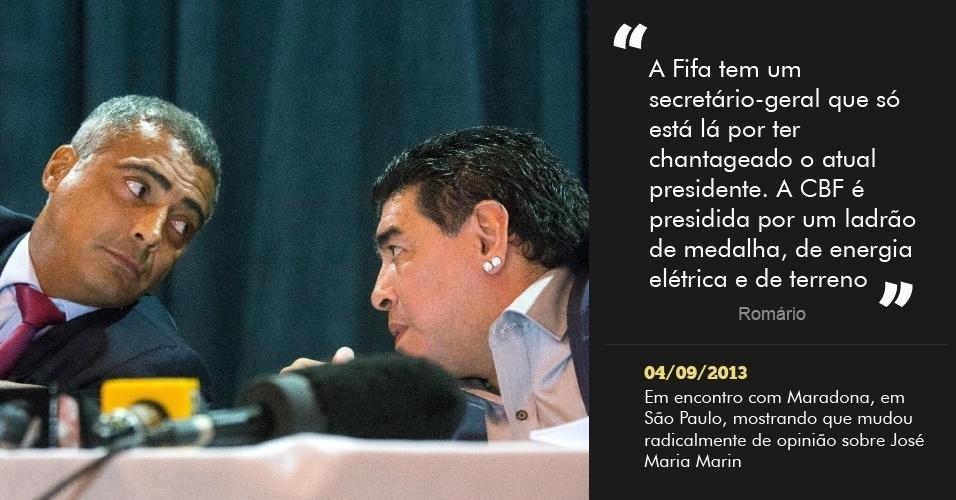 """""""A Fifa tem um secretário-geral que só está lá por ter chantageado o atual presidente. A CBF é presidida por um ladrão de medalha, de energia elétrica e de terreno"""" - 4/09/2013 - Em encontro com Maradona, em São Paulo, mostrando que mudou radicalmente de opinião sobre José Maria Marin"""