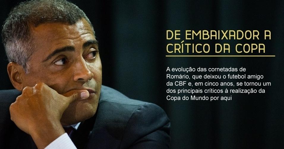 De embaixador a crítico da Copa - A evolução das cornetadas de Romário, que deixou o futebol amigo da CBF e, em cinco anos, se tornou um dos principais críticos à realização da Copa do Mundo por aqui