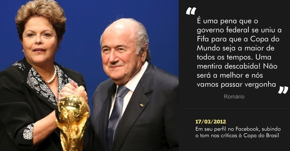 """""""É uma pena que o governo federal se uniu a Fifa para que a Copa do Mundo seja a maior de todos os tempos. Uma mentira descabida! Não será a melhor e nós vamos passar vergonha"""" - 17/03/2012 - Em seu perfil no Facebook, subindo o tom nas críticas à Copa do Brasil"""