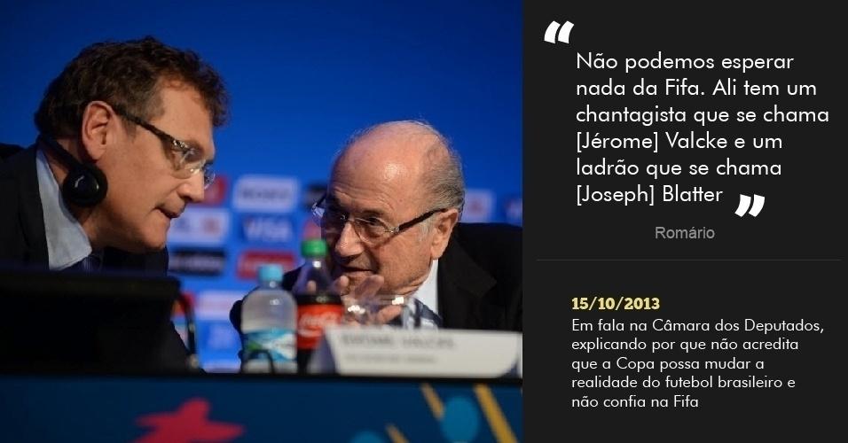 """""""Não podemos esperar nada da Fifa. Ali tem um chantagista que se chama [Jérome] Valcke e um ladrão que se chama [Joseph] Blatter"""" - 15/10/2013 - Em fala na Câmara dos Deputados, explicando por que não acredita que a Copa possa mudar a realidade do futebol brasileiro e não confia na Fifa"""