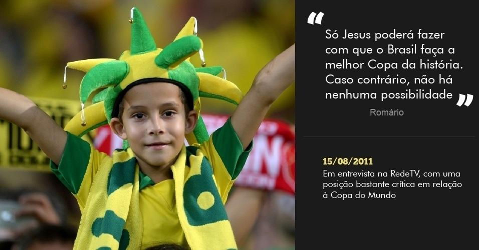 """""""Só Jesus poderá fazer com que o Brasil faça a melhor Copa da história. Caso contrário, não há nenhuma possibilidade? 15/08/2011 - Em entrevista na RedeTV, com uma posição bastante crítica em relação à Copa do Mundo"""