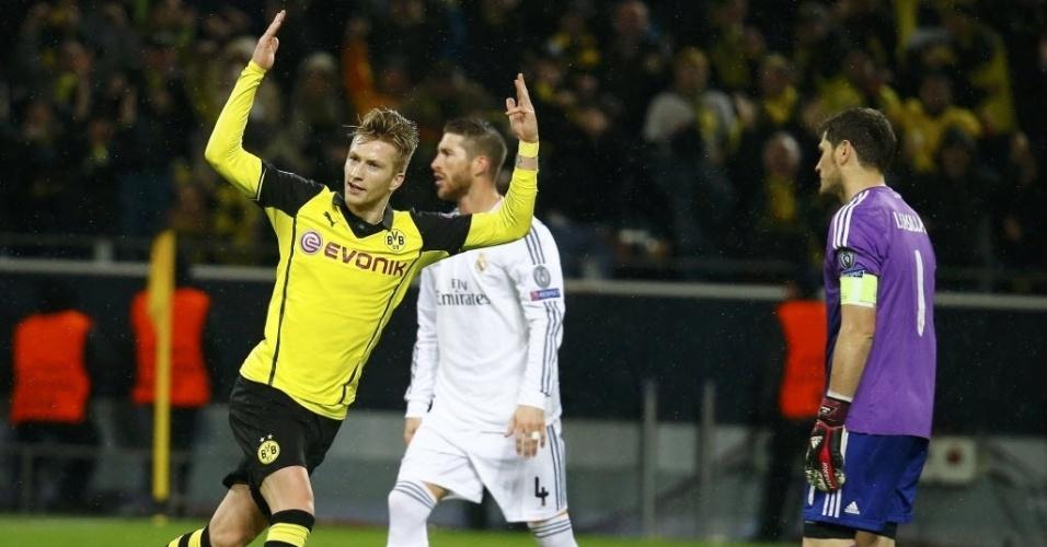 08.abr.2014 - Marco Reus comemora após marcar para o Borussia Dortmund na partida de volta das quartas contra o Real Madrid