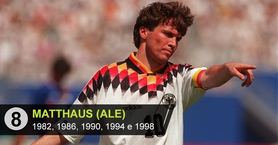 8. Lothar Matthaus (Copas de 1982, 1986, 1990, 1998)
