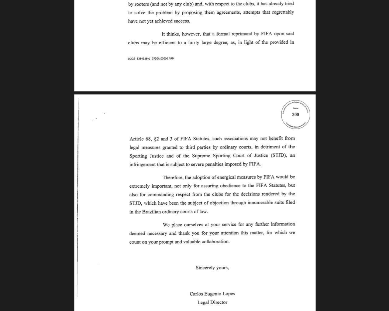 Carta enviada pela CBF à Fifa pede ajuda contra clubes na Justiça Comum