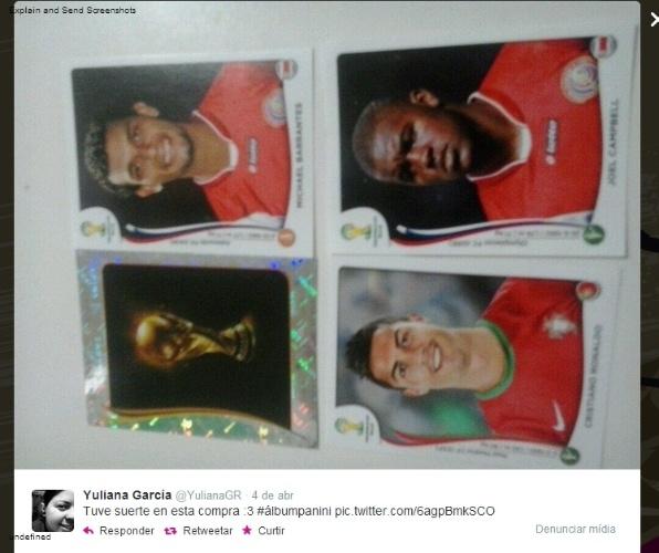 """09.04.14 - A costarriquenha Yuliana Garcia comemorou a compra de dois jogadores de seu time (Joel Campbell e Michael Barrantes), a própria Copa do Mundo e o craque Cristiano Ronaldo: """"Tive sorte nesta compra"""""""