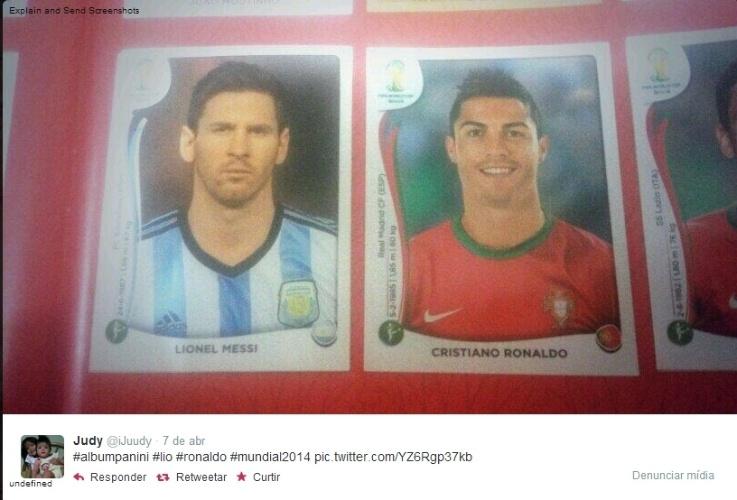 09.04.14 - A usuária @iJuudy brincou com a foto de Lionel Messi, colocando a figurinha ao lado da de Cristiano Ronaldo na página de Portugal. Será que ela colou mesmo?