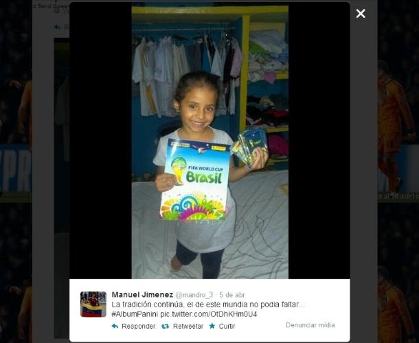 """09.04.14 - Mesmo fora da Copa, a Venezuela se empolgou com o Mundial, e o usuário Manuel Jimenez colocou uma foto de uma garota, possivelmente sua filha, com o álbum: """"A tradição continua. Este Mundial não poderia faltar..."""""""